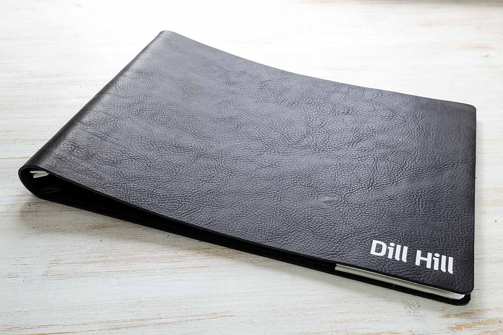 A3 landscape designers portfolio in black 2.5mm leather and white foil personalisation