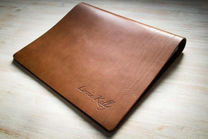 luxury brown leather portfolio book for photographer in a flip over format with personalized cover