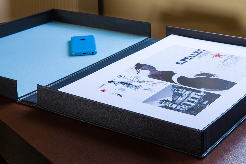 print portfolio box open for graphic designer
