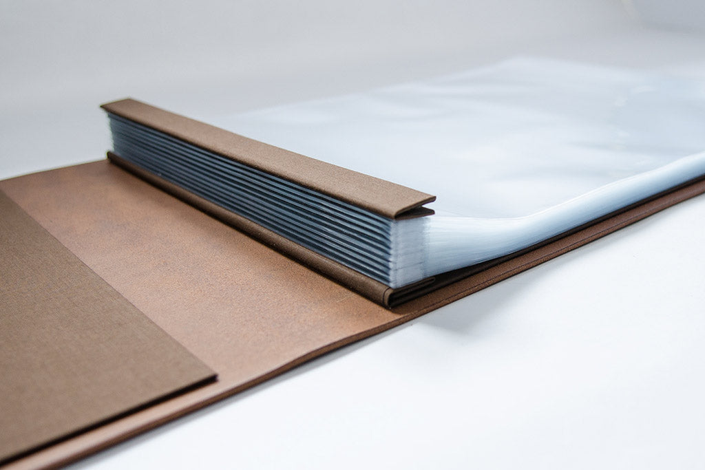 A3 leather portfolio with 50 page protectors