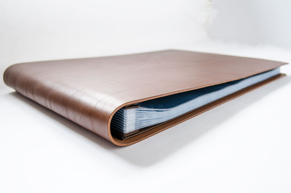 "11"" x 17"" Leather Portfolio Binder with Fifty Plastic Page Protectors"