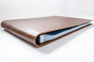 luxury leather portfolio scrapbook with 50 fifty page protector sleeves