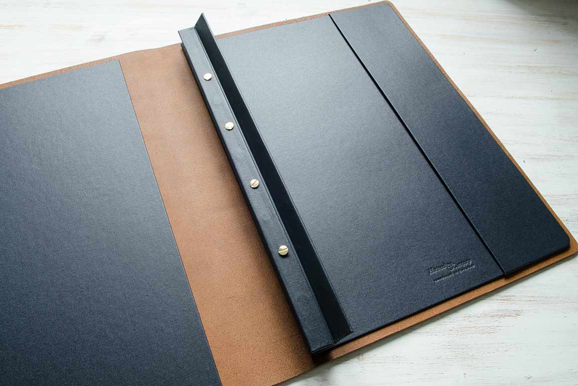 A3 Portrait Leather Presentation Portfolio showing Screw post Binding Access