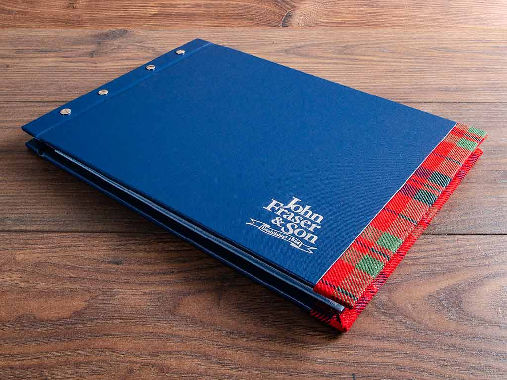 a3 landscape personalised presentation portfolio cover in blue fabric and tartan detail
