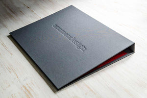 custom a3 ring binder portfolio with personalised cover for design agency in a flip over format