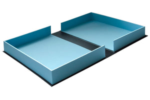 clamshell portfolio box in blue and black