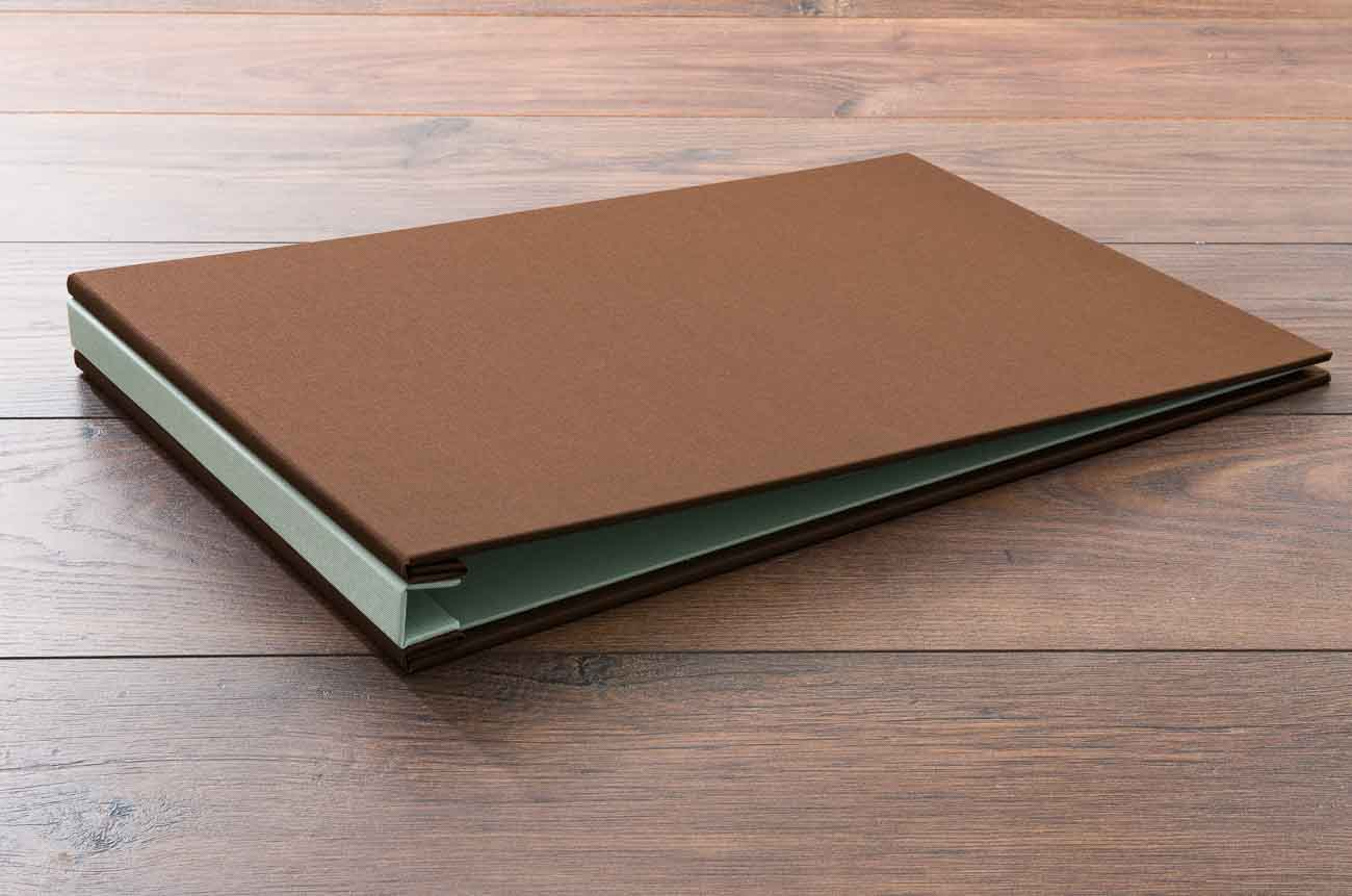 11 x 17 Landscape Hidden Screw Post Portfolio Book in Darling Brown & Lichen Green