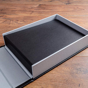 Luxury black leather guest book in clamshell box holder