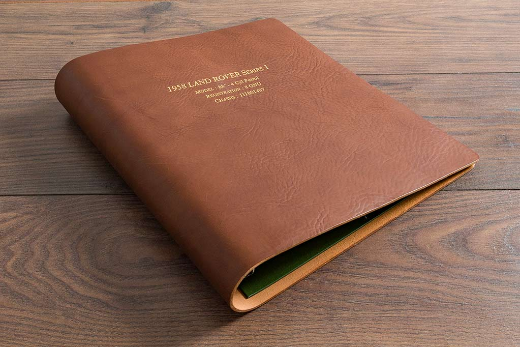A4 3.5mm brown leather ring binder with gold foil personalisation