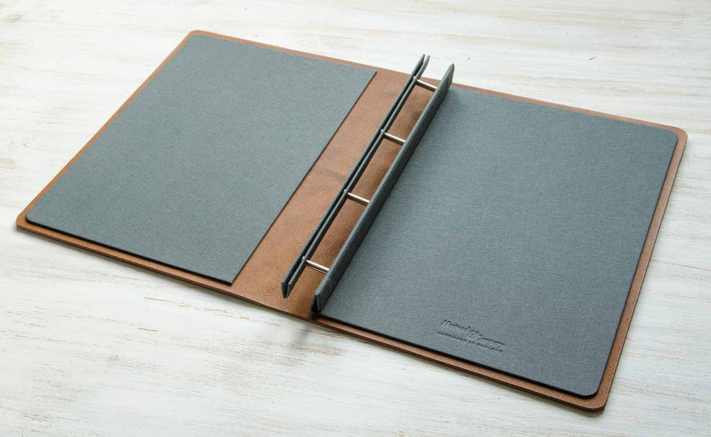 open leather presentation portfolio binder custom made