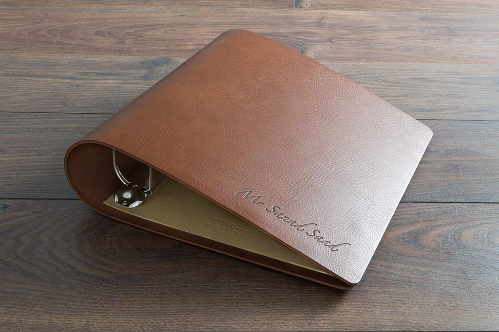 a4 leather ring binder with embossed personalised cover used for surgical portfolio