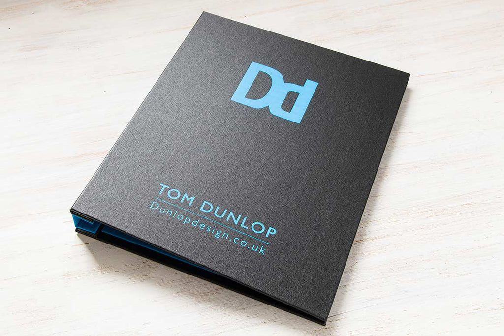 H&Co Personalisation of Blue Foil on Custom Portfolio