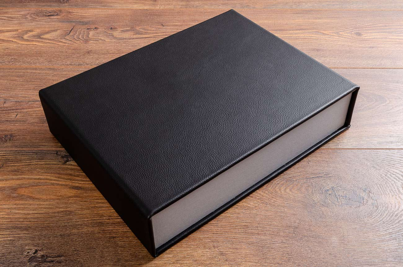 Black leather A4 clamshell box for guest book