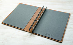 Leather portfolio with inner covers covered