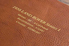 gold foil personalisation on leather portfolio cover