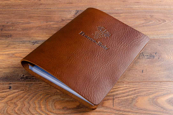 A4 brown leather menu cover with restaurant logo personalised on front cover