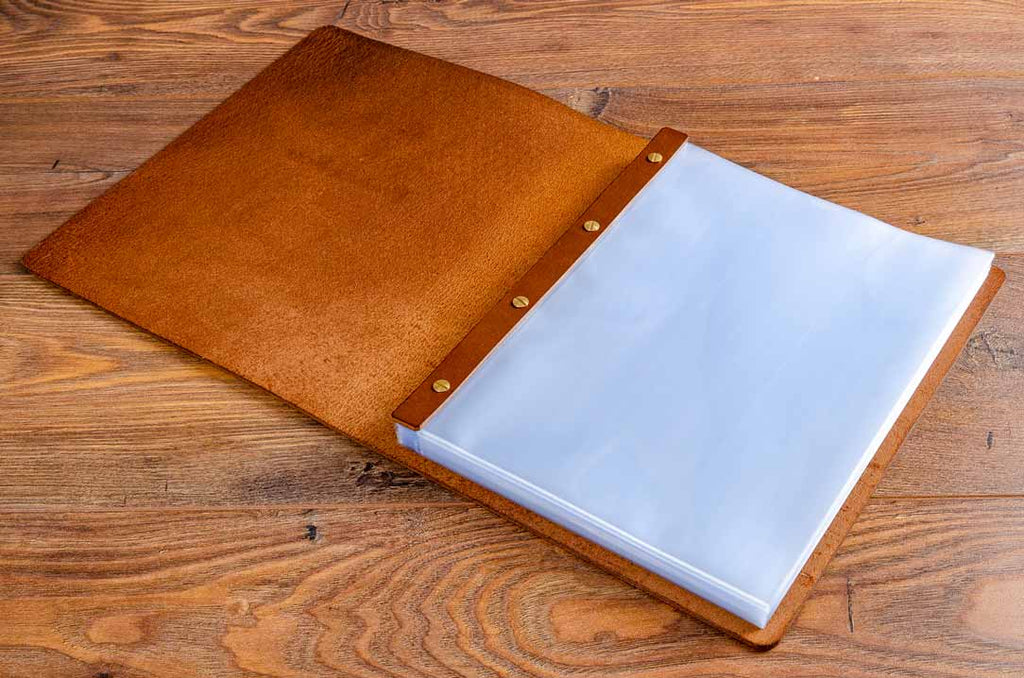 A4 leather menu cover with high quality glass clear plastic page protector sheets
