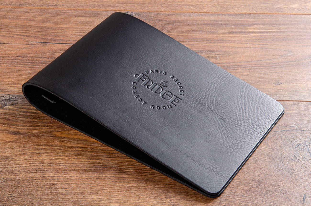 Black leather A4 menu with blind embossed personalisation