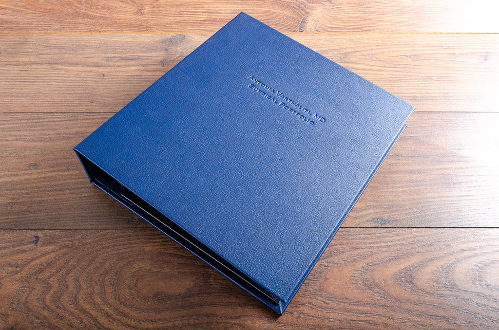 A4 portrait ring binder in Midnight Blue faux leather and blind debossed personalised cover