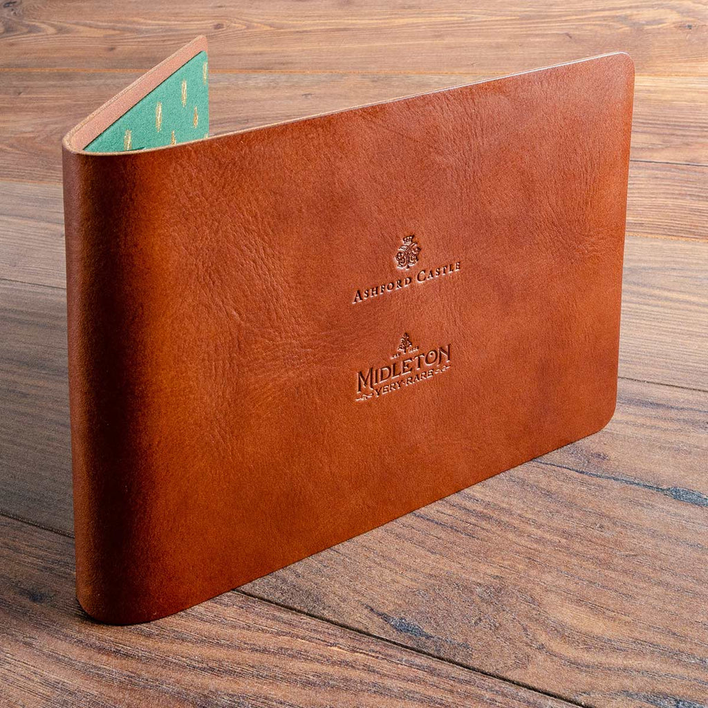 A4 leather menu for Midleton whisky and Ashford Castle in Ireland