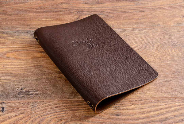 Personalised A5 leather drinks menu cover