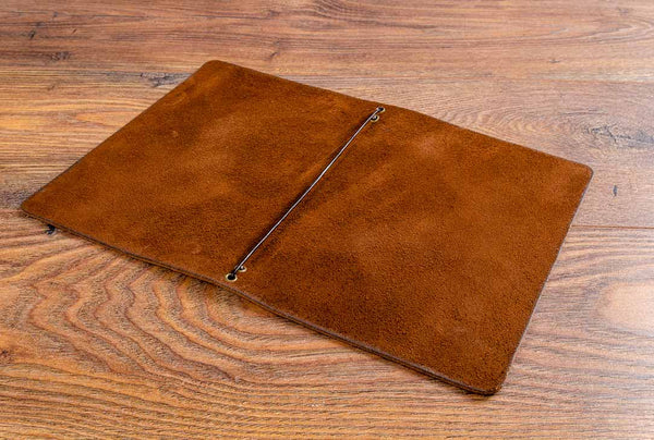 A5 leather menu cover with elastic strap