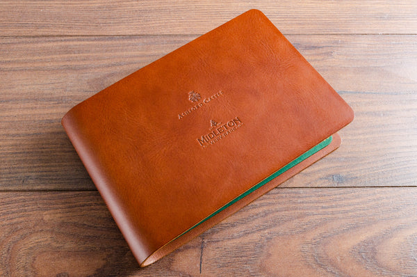 A5 luxury leather drinks menu cover with personalised cover