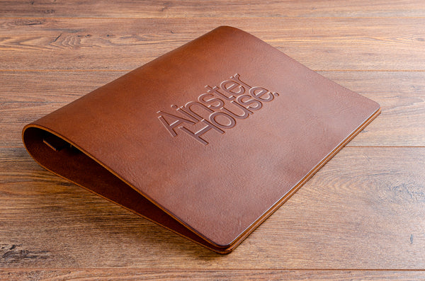 A4 brown leather personalised menu cover with