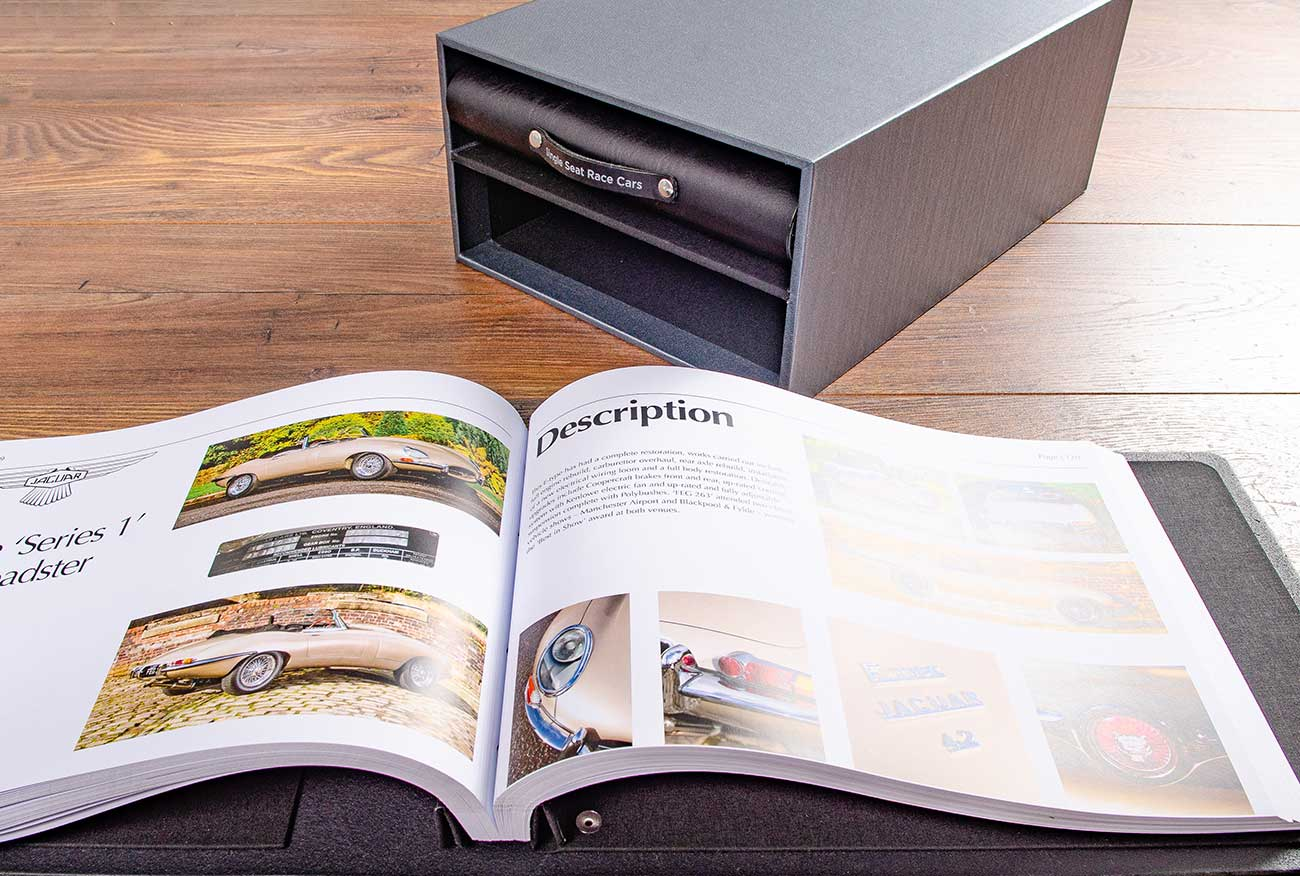 We toke care of the printing as well. Each spread contains details of the individual car in the collection
