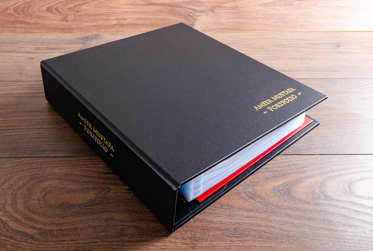 Medical Portfolio Ring Binder in Charcoal Black Buckram with Gold Foil Personalisation