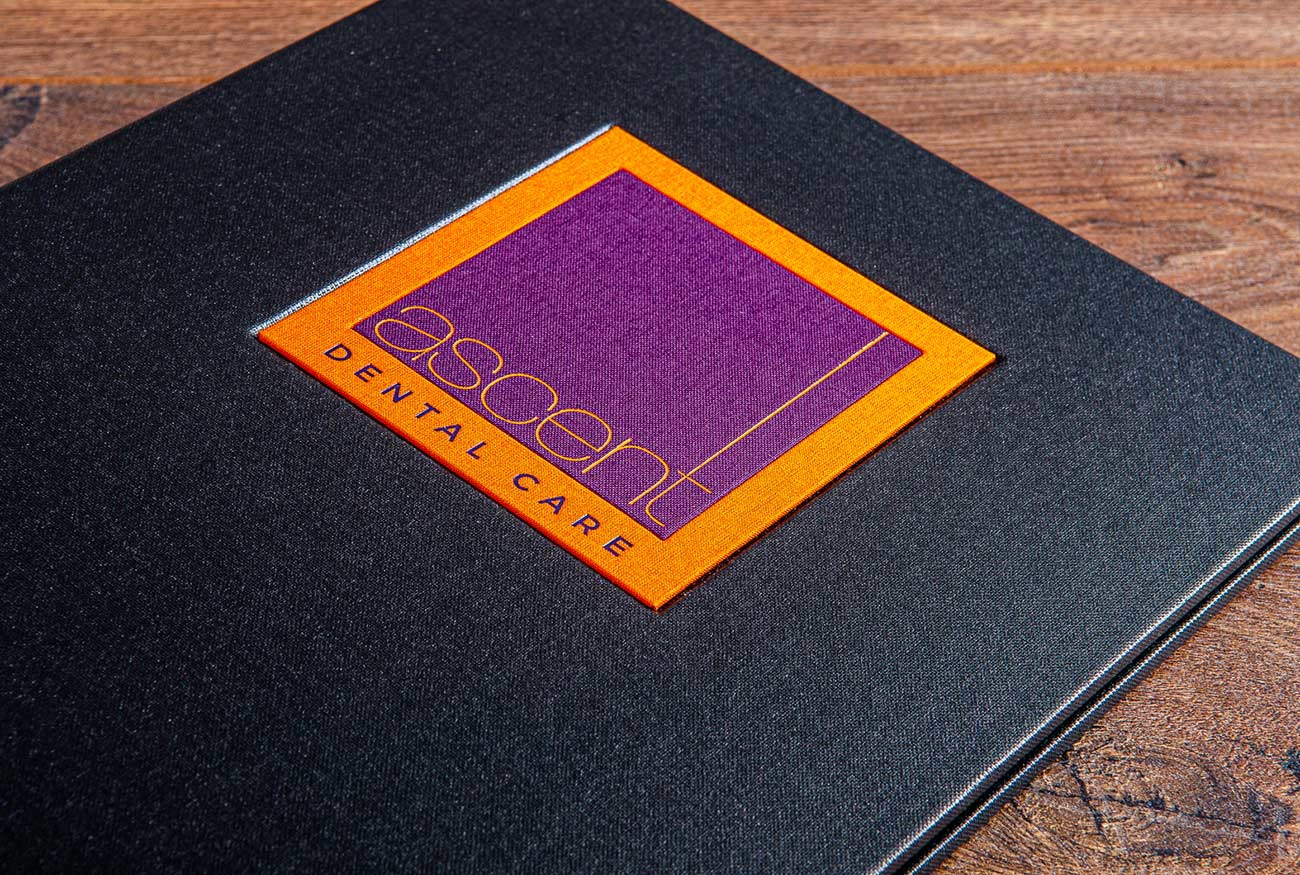 Example of a name plaque and foiling on portfolio book
