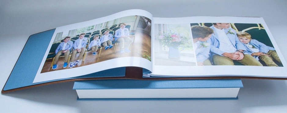 custom made leather wedding album with printed wedding photos inserted into album