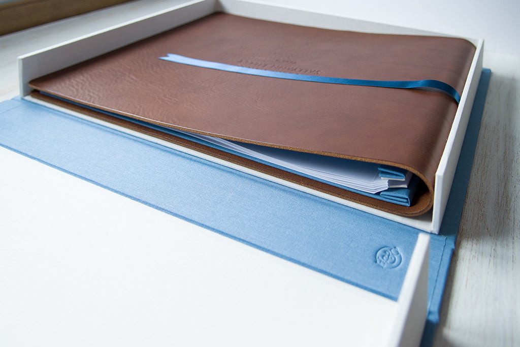 The clamshell box containing the A3 leather wedding album