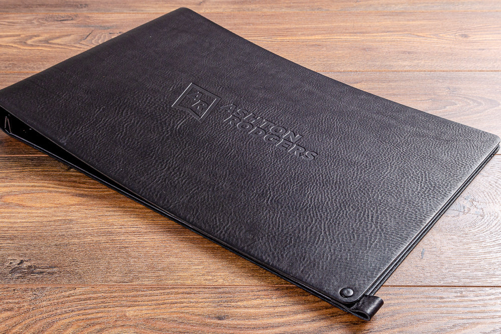 Black leather 11 x 17 portfolio book with blind debossed personalisation
