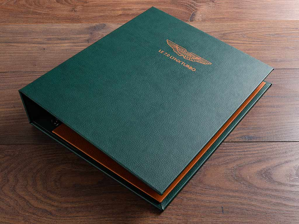 A4 ring binder in jungle green book cloth and copper foil personalisation
