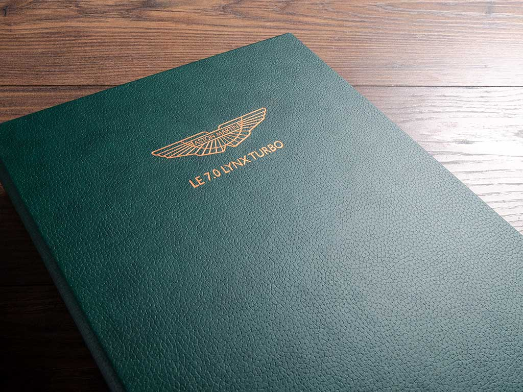 luxury car document and history folder in faux green leather with personalised cover