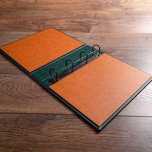 vehicle document ring binder in faux leather