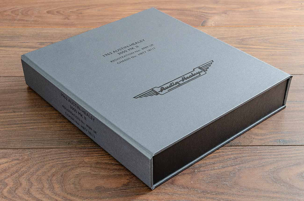 custom made clamshell box for austin healey documents invoices and restoration history