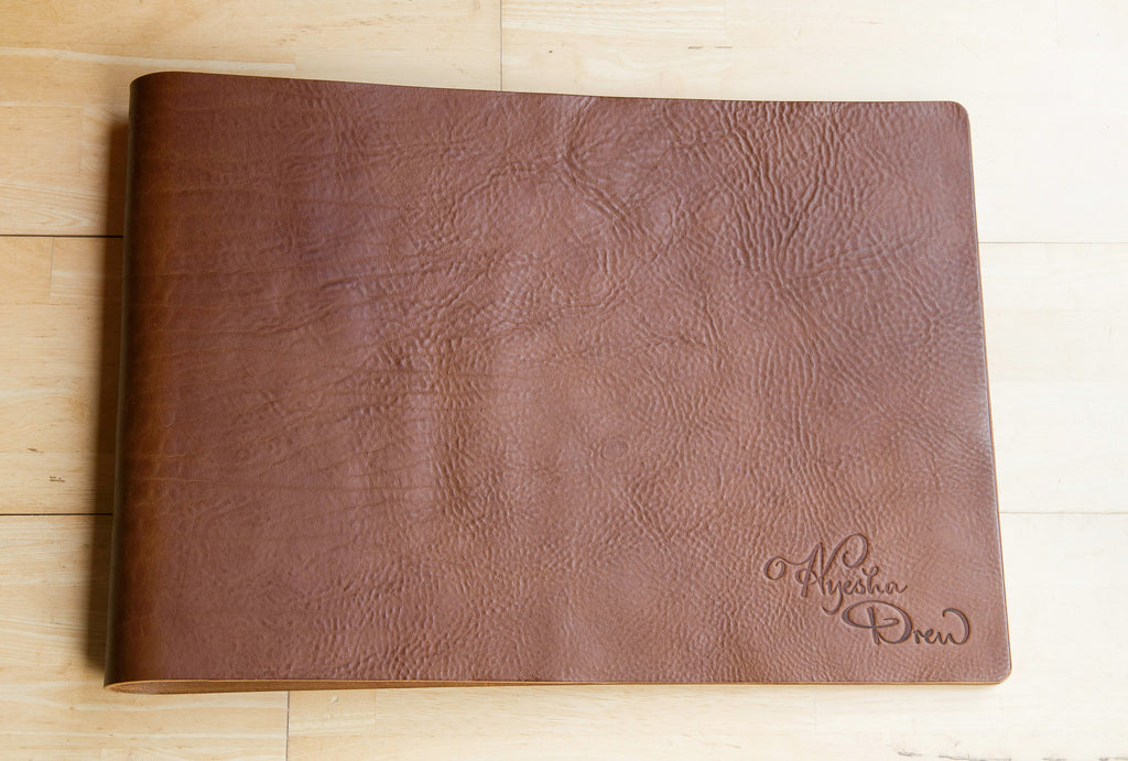 Leather presentation portfolio with debossed logo