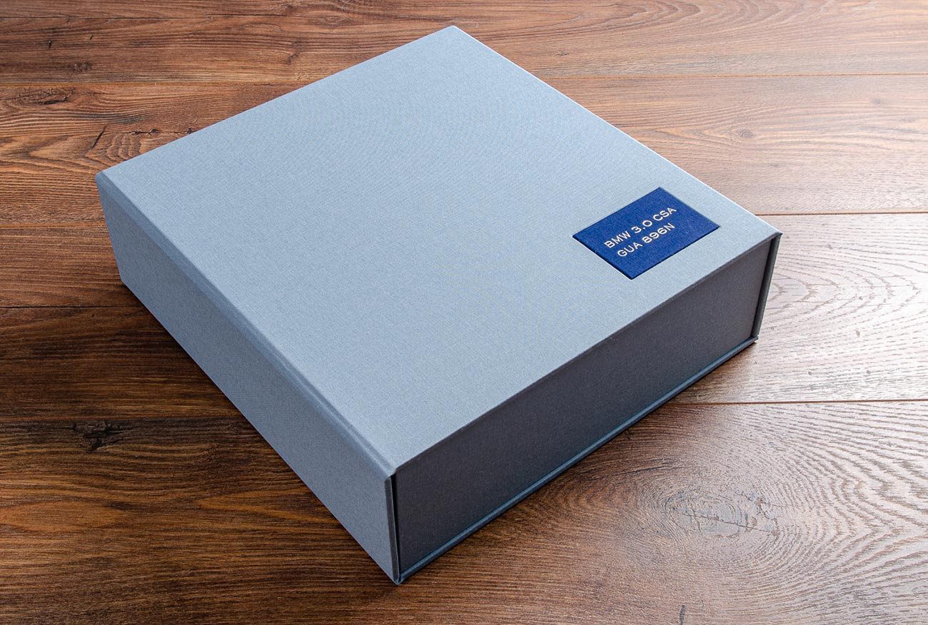 Car document box in Deal blue book cloth with a personalised plaque for a classic BMW