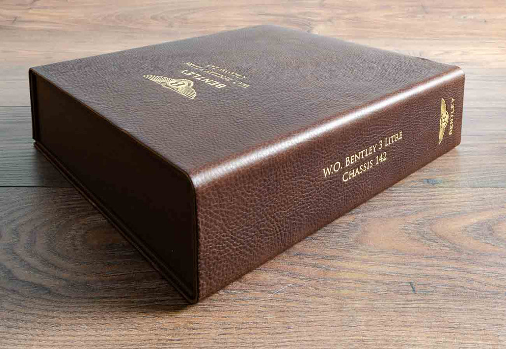 Leather box file in 2.5mm dark brown leather with gold foil personalisation