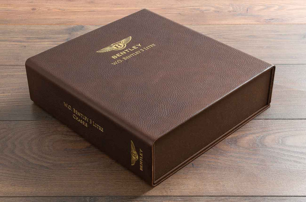 Brown leather document box file with gold foil personalisation for vintage Bentley