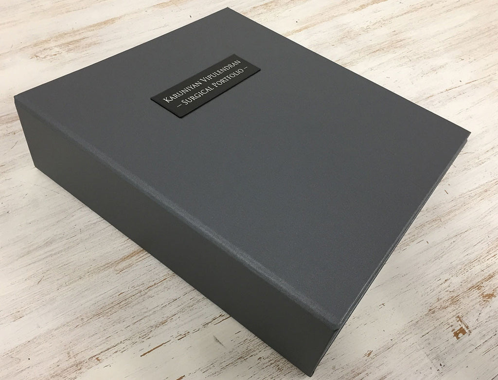 Quality Surgical Portfolio bespoke and personalised in pewter grey and blacksmith silver foil