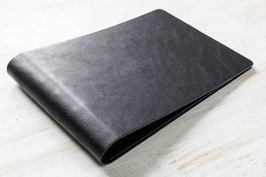 black leather ring binder portfolio book landscape format