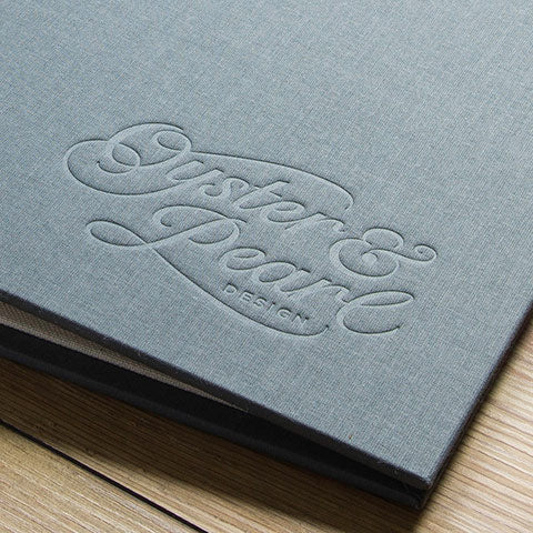 blind deboss personalisation on portfolio cover
