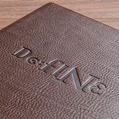 embossing on leather menu cover