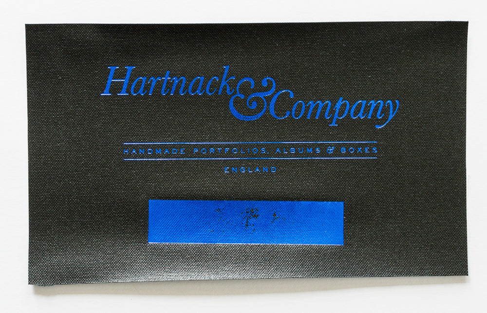 Metallic Blue Foil on Black Buckram