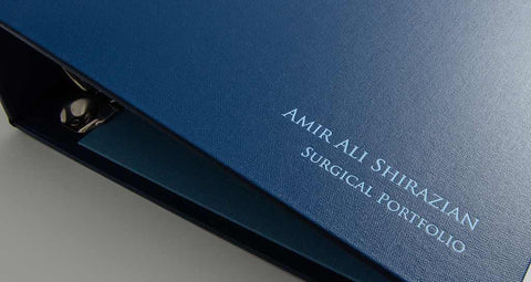foil emboss personalisation on medical portfolio