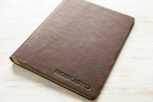 a4 brown leather portfolio book with personalised embossed cover