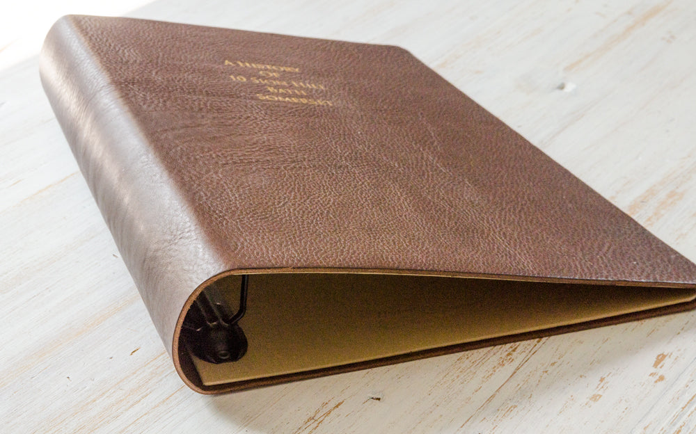2.5mm dark brown leather ring binder with matt gold foil personalisation